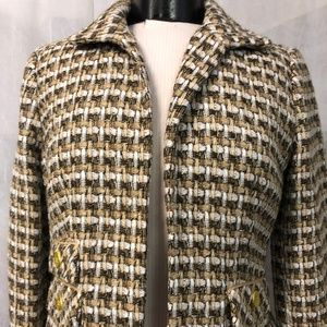 Chico's Women's Tan and Brown Tweed Blazer Size 0